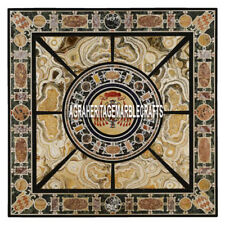 4'x4' Marble Side Dining Table Collectible Scagliola Inlay Living Room Art Decor