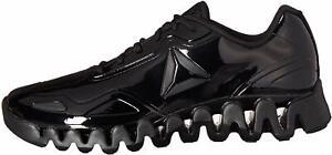 Reebok Mens Zig Pulse SE Low Top Lace Up Running, Black/Black/Patent, Size 7.5