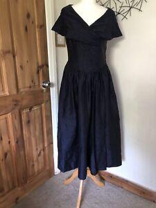 Gorgeous Silk Navy Laura Ashley Dress - Size 12