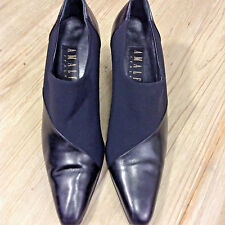 Amalfi women's from Italy, stretch canvas and fine leather color black size 9B