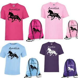Girls Personalised Love Horses T Shirt & Bag Set & own name Age 3-13 NEW