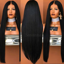 Heat Resistant Fiber Hair Synthetic Lace Front Wig Black Silky Straight 24 Inch