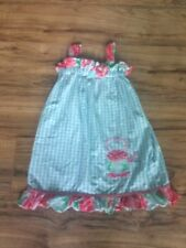 Toddler Girls Le' Za Me Boutique Blue White Pink Plaid Teapot Party Dress Sz 4