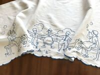 Vintage Hand Embroidered White Linen Table Sideboard Runner DUTCH SCENE Cloth