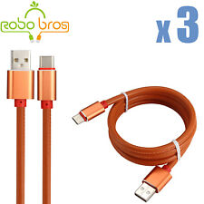 3X 3FT  Orange leather USB-C Type-C Fast Charging Data SYNC Charger Cable Cord