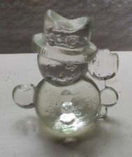 GOEBEL SOLID GLASS CHRISTMAS SNOWMAN CANDLE HOLDER