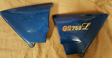 USED 1979 SUZUKI GS750L SIDE COVERS (SET) BLUE P/N #47111-45200 & 47211-45200