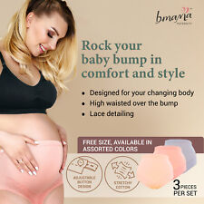 BMAMA High Waist Over the Bump Maternity Panties Stretchy Cotton Belly Support