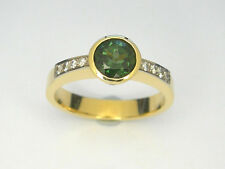 Green tourmaline Diamond ring, Handmade 18carats yellow gold ring*