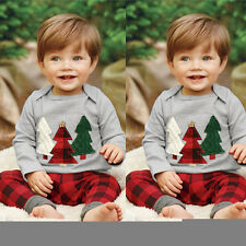 2Pcs Baby Boys Christmas Tree Clothes Tops T-shirt+Plaid Pants Outfits Kids 1-6Y