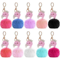 HN- Swan Crown Fluffy Ball Women Keychain Car Key Holder Ring Handbag Hanging De