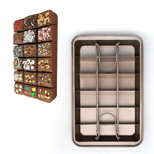 Non Stick Brownie Pan Tin With Dividers, Heavy Duty Divided Brownie Tray