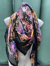 Pierre Balmain Large Floral Silk Black & Multicoloured Scarf