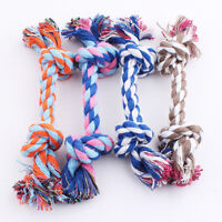Puppy Dog Cat Pet Toy Cotton Braided Bone Rope Teeth Clean Tug Chew Knot Tool