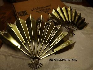 1176 ROMANTIC FANS WALL ART 2 PC SET HANGING PLAQUES metal NEW IN BOX