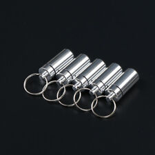 5 Pcs Waterproof Aluminum Pill Box Case Drug Container Holder Keyring INFCA