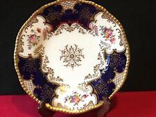 Antique Coalport Batwing Cabinet Plate Porcelain Cobalt Blue Gold Gilt  22.7 cm