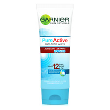 100ml Garnier Pure Active Facial Scrub Foam Anti-Acne White Acne & Oil Clearing