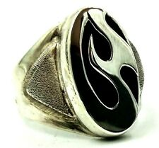 SAJEN Men's Sterling Silver Black Onyx Inlay Ring 13.6 Grams Size 14 AMIGems