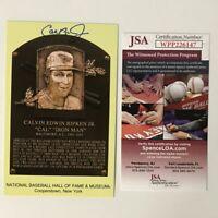 Autographed/Signed CAL RIPKEN JR HOF Hall Of Fame Plaque Postcard JSA COA Auto