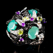 Handmade Natural Emerald 925 Sterling Silver Ring Size 6.75/R120762