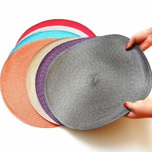 set of 4/8 Round PVC Woven Non-slip heat Insulation kitchen Table mats Placemats