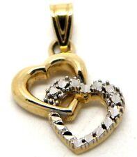 14k Yellow Gold Double Heart, Tu y Yo Charm Pendant Charm