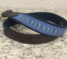 Vineyard Vine Men's Golf Belt Sz 30 Blue Canvas & Leather