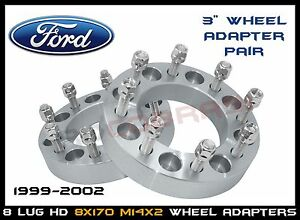 """8x170 3"""" Wheel Spacers Adapter Pair Ford 1999-2002 