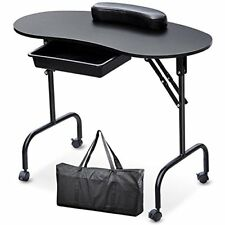 Yaheetech Beauty Manicure Nail Table Station Desk-Portable Folding 1-Drawer with