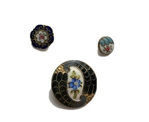 Lot Of 3 Antique Victorian French Champleve Enamel Buttons Hand Painted Florals