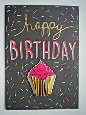 "C.R.GIBSON ~ GLITTERY CUPCAKE ""HAPPY BIRTHDAY"" GREETING CARD + ENVELOPE"