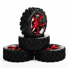 4PC Rubber Tire Wheel For HSP HPI 1/10 RC Off Road Rally Car MPNKR+PP0487