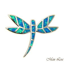 925 Sterling Silver Rhodium Hawaiian Blue Opal Dragonfly Silder Pendant