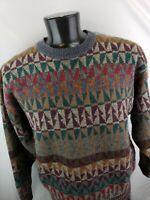 Vintage 80s Men's Nordic Wool Knit Ski Sweater Fishermans Skyr Geometric Large