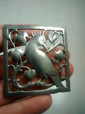 Pretty LM sterling 925 bird leaves design square pin brooch