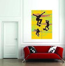 Skate Boarding Retro Yellow Giant Wall Art Print Home Decor Poster