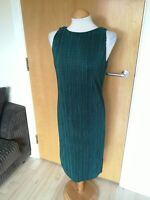 Ladies PER UNA Dress Size 10 Green Crinkle Textured Smart Party Evening