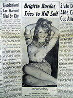 1960 newspaper w pict SEX SYMBOL movie actress BRIGITTE BARDOT attempts SUICIDE