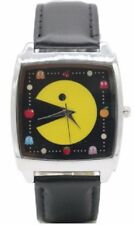Pac-Man Logo Black Square Genuine Leather Band Wrist Watch