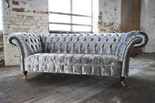 MODERN HANDMADE 3 SEATER SILVER CRUSHED VELVET FABRIC CHESTERFIELD SOFA COUCH