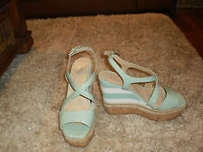 WOMAN'S WITTNER 100 YEARS WAKELEY  GREEN & WHITE HIGH WEDGE SANDALS-SIZE 39/8