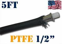 "1/2"" 12MM NYLON STAINLESS STEEL BRAIDED PTFE ETHANOL E85 FUEL HOSE LINE 5FT"