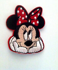"""2.5"""" Embroidered Minnie Mouse Face w/red polka dot bow Iron On Applique patch"""