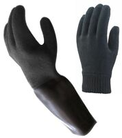 WATERPROOF Brand, Latex LONG DRY GLOVES Diving Dry Suits + Thermal Base Gloves