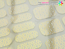 Nail Wraps 'Fingers & Toes' Burnished Hollow Gold Hearts on White (22 Wrap Pack)