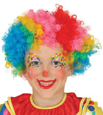 Kids Multicoloured Curly Afro CLOWN WIG Circus Boys Girls Fancy Dress Rainbow