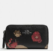NEW COACH SMALL DOUBLE ZIP COIN CASE WITH HALFTONE FLORAL PRINT