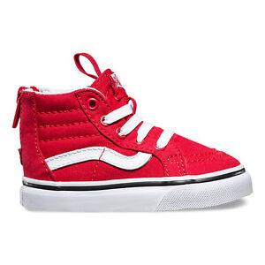 Vans SK8-Hi Zip (Varsity) Racing Red/ True White Toddlers Shoes New In Box