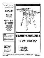 Sears Craftsman  Table Saw Manual Model # 113.298762